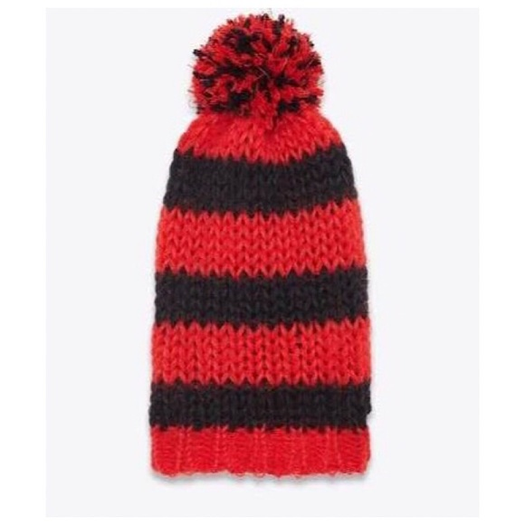 Yves Saint Laurent Accessories - YSL Classic Red and Black Pom Pom Ski Hat